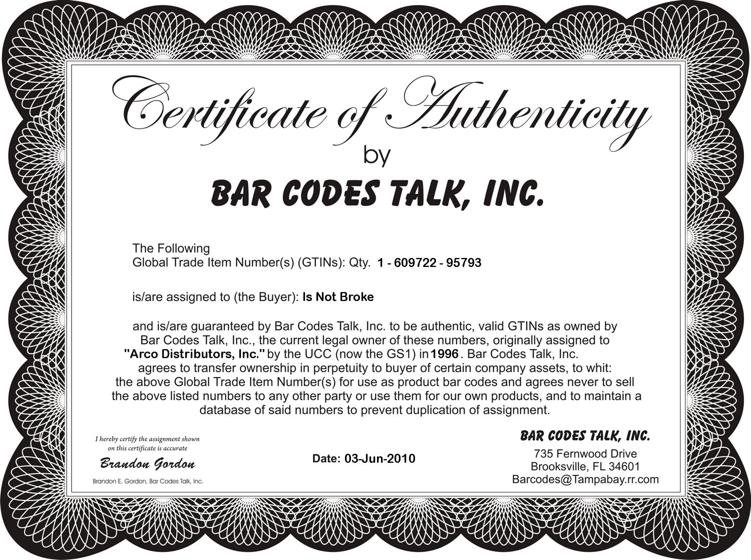 certificate of authenticity word template